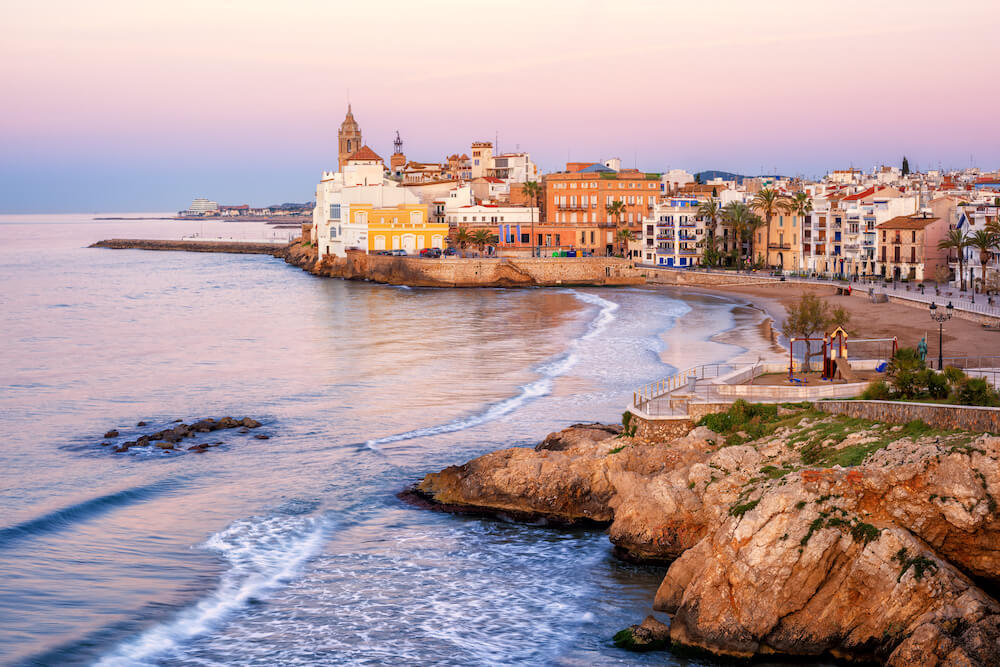 Sand beach and historical Old Town in Sitges
