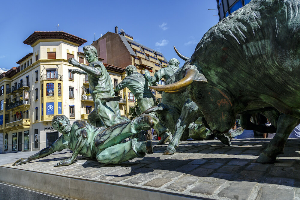 Statue of Encierros in Pamplona, Spain